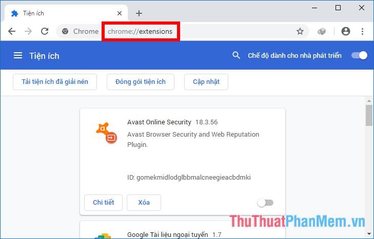 Trên trình duyệt Chrome nhập đường dẫn chrome://extensions/ vào ô địa chỉ