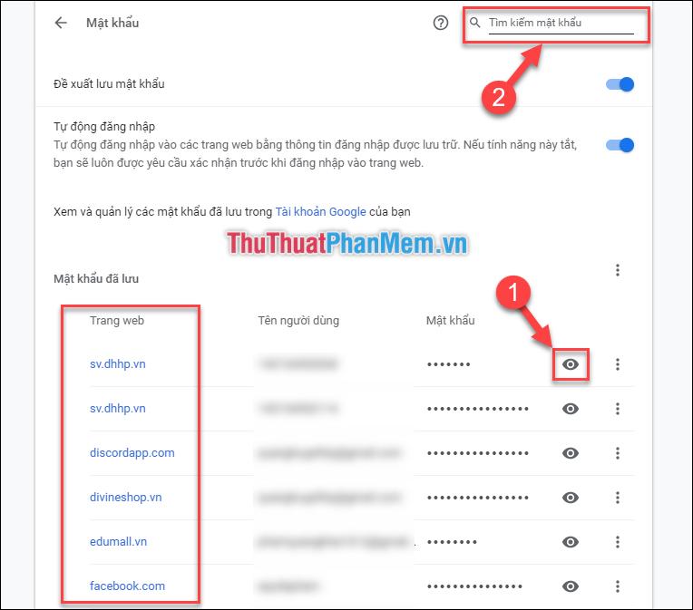 Ấn vào icon con mắt để xem mật khẩu đã lưu tại trang web tương ứng