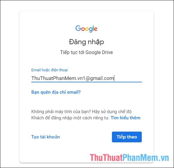 Đăng nhập tài khoản Google của bạn