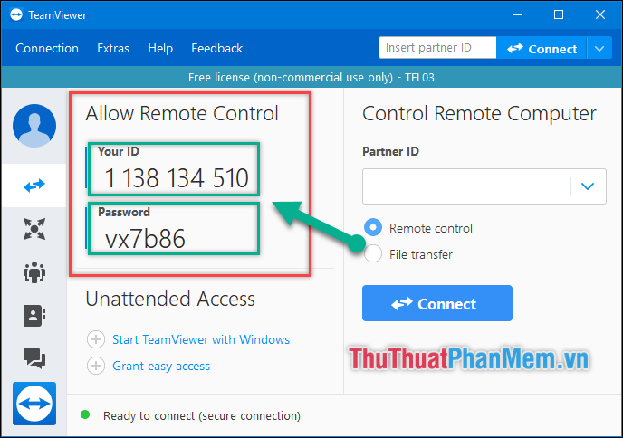 Lấy ID và mật khẩu tại ô Allow Remote Contro