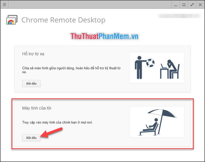 Muốn điểu khiển máy tính của chính mình thì chọn phần Máy tính của tôi
