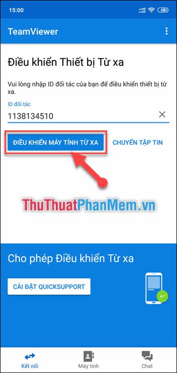 Truy cập ứng dụng Teamviewer trên điện thoại và nhập ID vs mật khẩu