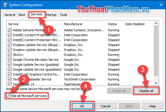 Chọn Hide all Microsoft services để ẩn những dịch vụ của Microsoft