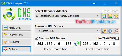 Giao diện của phần mềm DNS Jumper