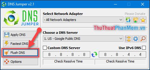 Trở về mặc định ban đầu bằng cách ấn vào Flush DNS