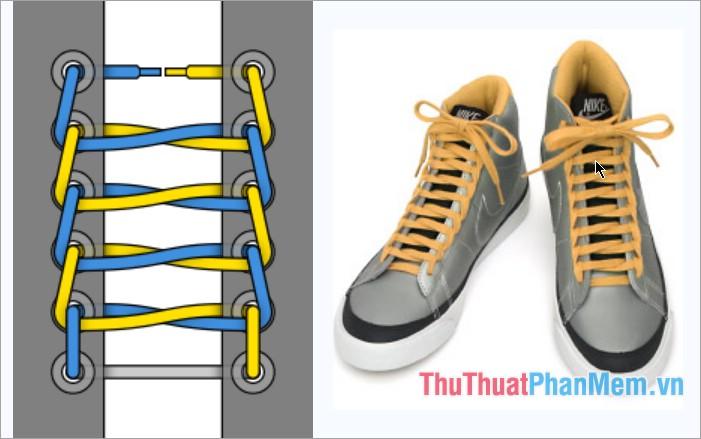 Cách thắt dây giày kiểu bậc thang