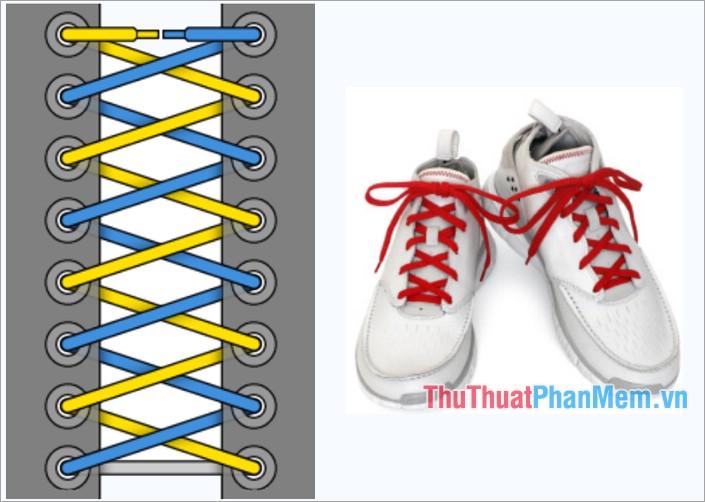 Cách thắt dây giày kiểu buộc chéo Criss Cross