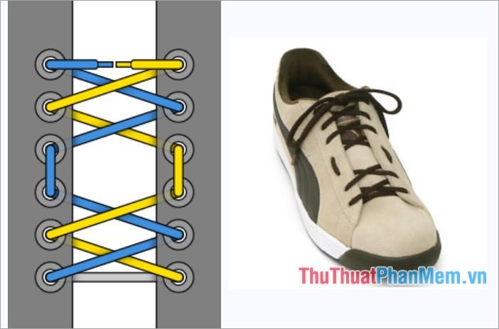 Cách thắt dây giày kiểu buộc chéo và khoảng cách