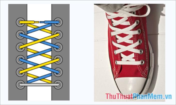 Cách thắt dây giày kiểu buộc chéo vắt lên trên