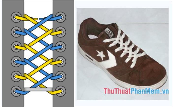 Cách thắt dây giày kiểu khóa kéo