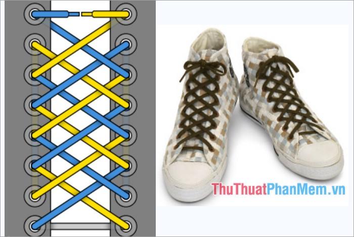Cách thắt dây giày kiểu lưới