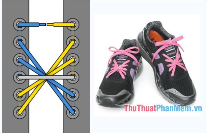 Cách thắt dây giày kiểu Starburst