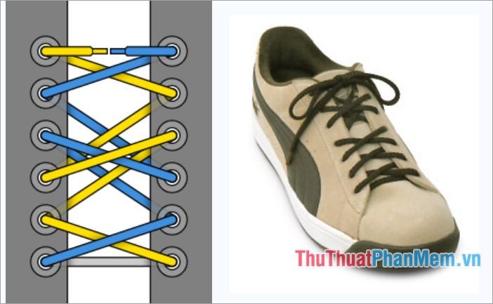 Cách thắt dây giày kiểu viền 2-1-3
