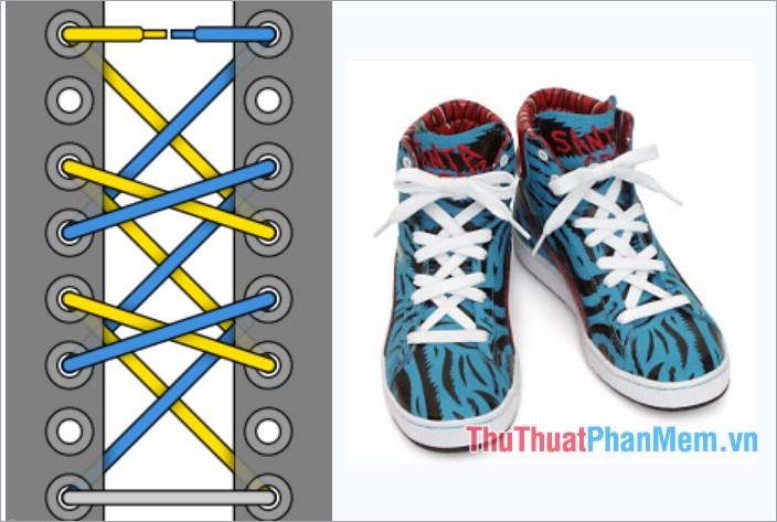 Cách thắt dây giày kiểu viền chéo đôi