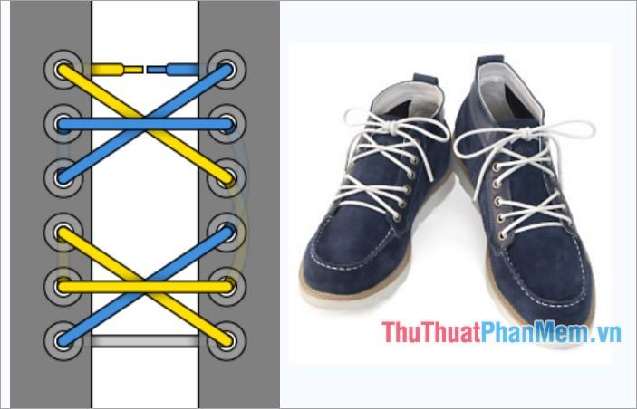 Cách thắt dây giày kiểu viền dấu hoa thị