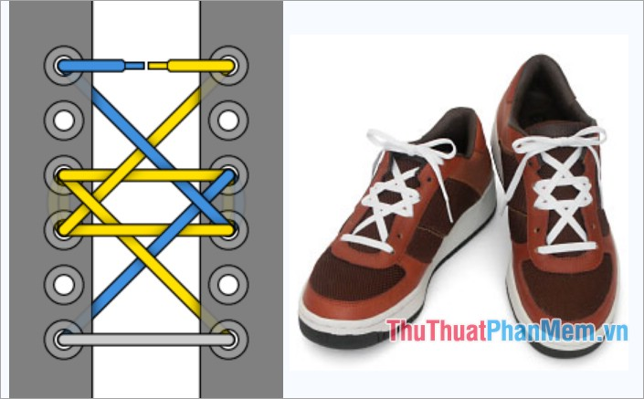 Cách thắt dây giày kiểu viền hình lục giác