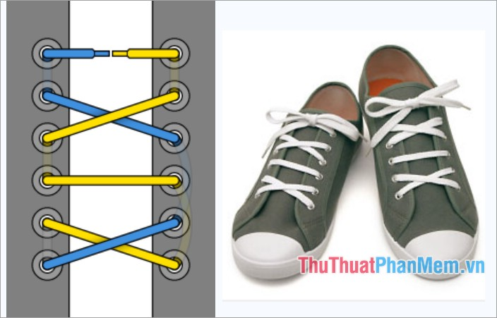 Cách thắt dây giày kiểu viền La Mã