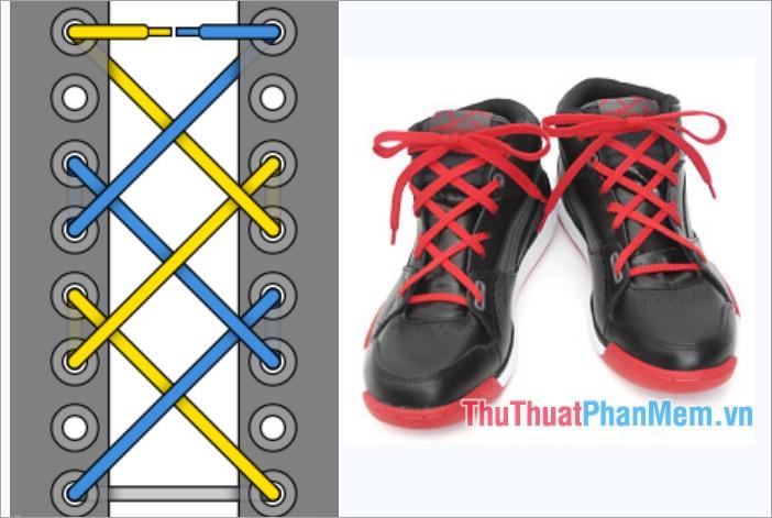Cách thắt dây giày kiểu viền mắt cáo