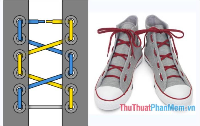 Cách thắt dây giày kiểu viền quân đội