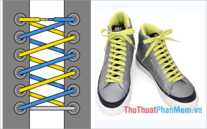 Cách thắt dây giày kiểu viền xoắn đôi