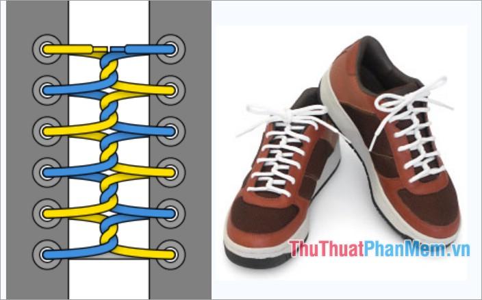 Cách thắt dây giày kiểu viền xoắn