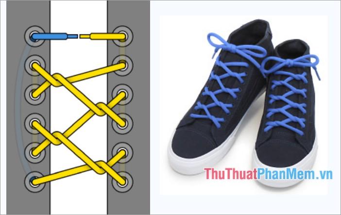 Cách thắt dây giày kiểu viền xoáy