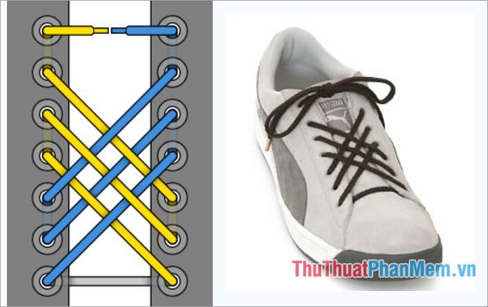 Cách thắt dây giày viền lưới