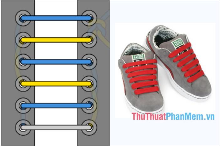 Cách thắt dây giày viền ngang ẩn nút thắt