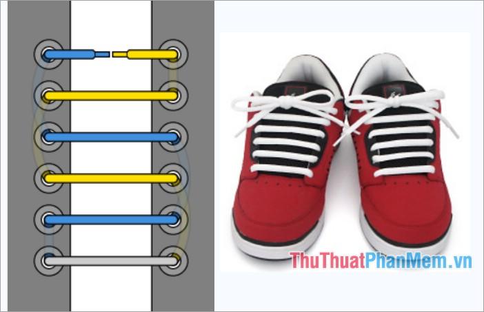 Cách thắt dây giày viền thẳng