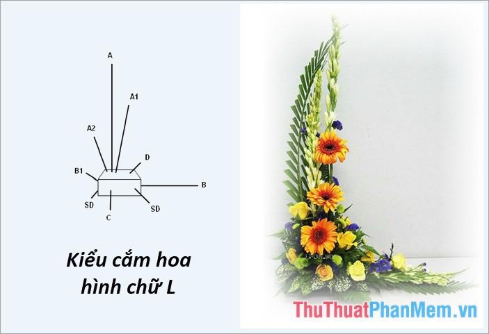 Cắm hoa kiểu hình chữ L