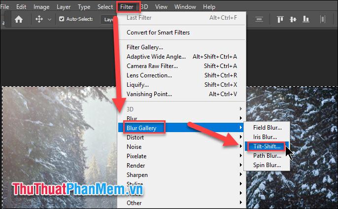 Chọn chức năng Filter - Blur Gallery - Tilt-Shift...