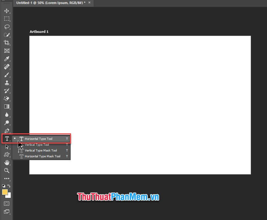 Chọn công cụ Horizontal Type Tool