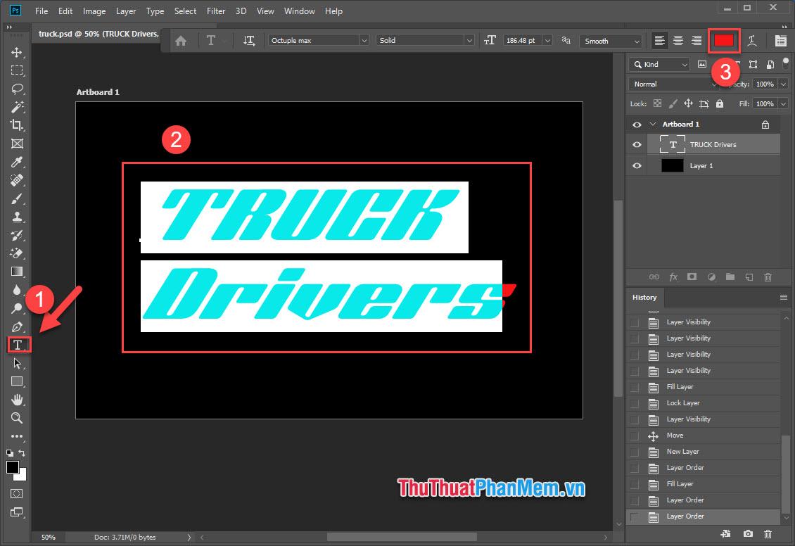 Chọn công cụ Type Tool, bôi đen phần văn bản rồi nhấn vào bảng màu phía góc trên màn hình