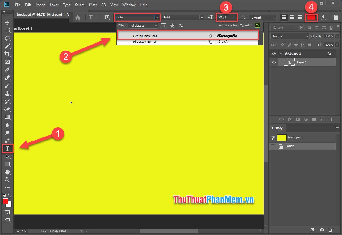 Chọn công cụ Type Tool, chọn font chữ, cỡ chữ và màu chữ