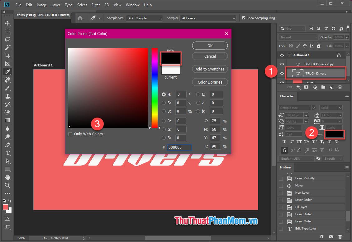Chọn Layer Text, tại cửa sổ Character, mở bảng màu, chọn màu đen