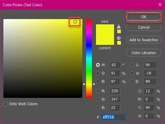Chọn màu bạn muốn rồi nhấn OK