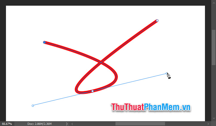 Chọn OK và bạn đã có 1 nét vẽ đường cong