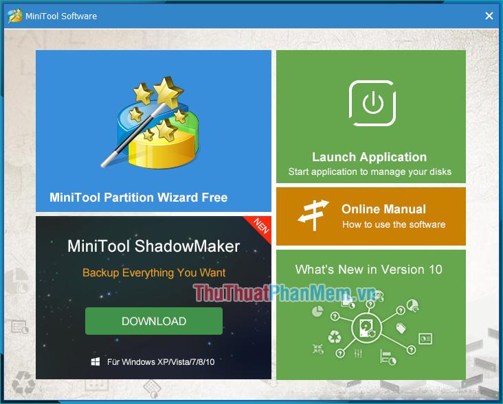 Giao diện khởi động của Minitool partition wizard