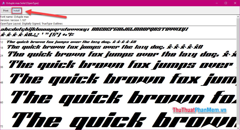 Nhấn Install đề cài đặt font