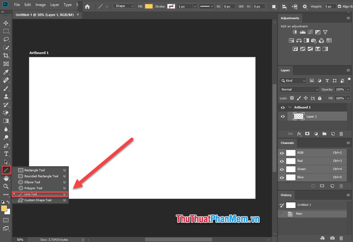 Tại giao diện chính của Photoshop, chọn công cụ Line Tool