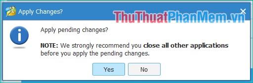 Thông báo hiện lên chọn Yes