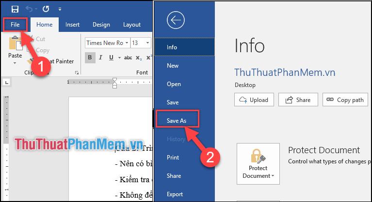 Ấn vào tab File ở góc trái phần mềm → Chọn Save As