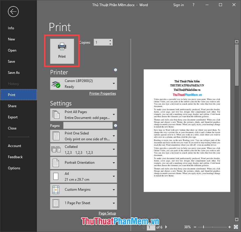 Chọn Print để gửi lệnh in tới máy in