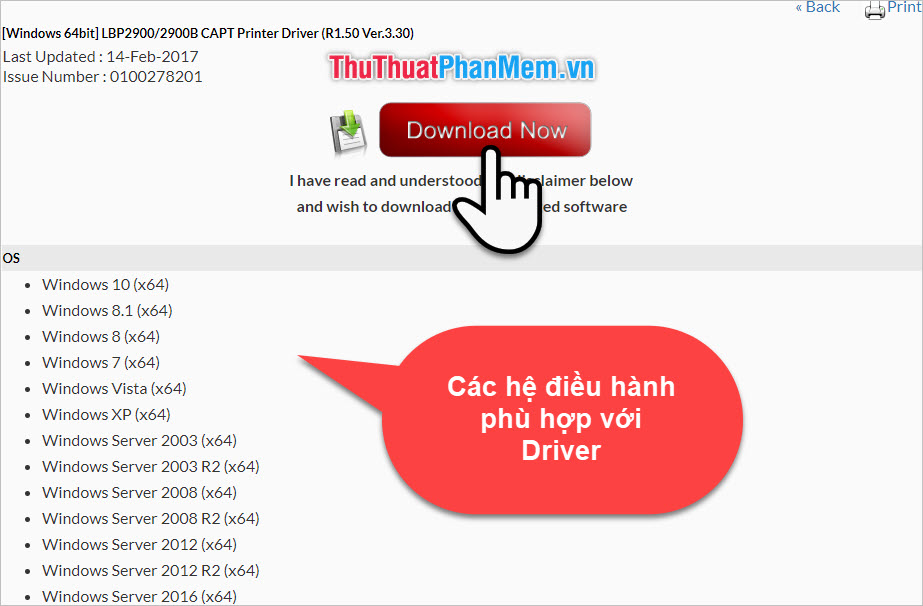 Tải Driver máy in Canon 2900 cho Windows 10, Windows 7