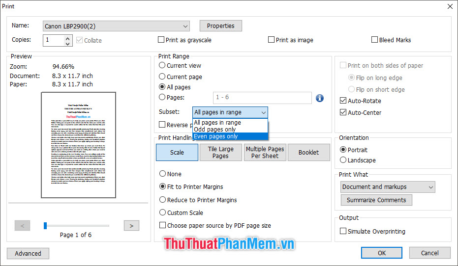 In những trang chẵn của file tài liệu, chọn Even pages only