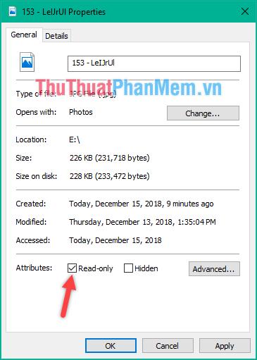 Kiểm tra chế độ đọc ghi của file bạn sao chép
