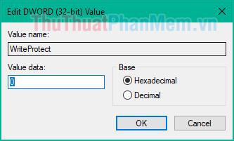 Nhấn đúp vào file vừa tạo và đặt giá trị là 0 và nhấn OK