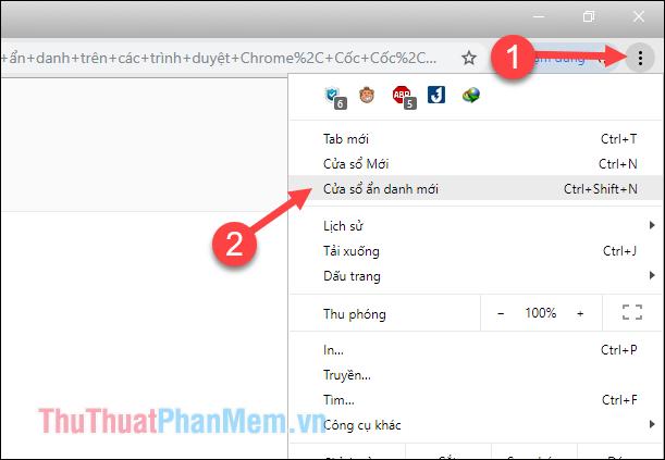 Nhấn nút 3 chấm sau đó chọn mục Cửa sổ ẩn danh mới