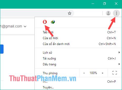 Nhấn nút 3 chấm trên trình duyệt Chrome
