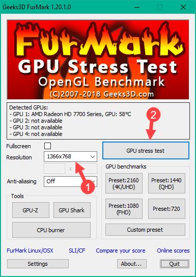 Test thử độ chịu đựng của card bằng chức năng GPU stress test